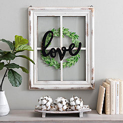 Love Wreath 4-Pane Window Plaque