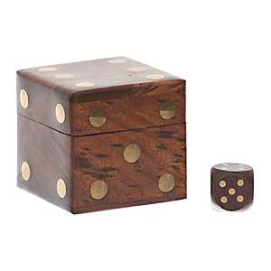 Dark Wood and Gold Dice Holder Box
