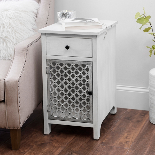 Weathered White Side Table With Charging Station