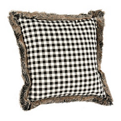 Black and White Buffalo Check Pillow with Fur Trim