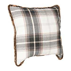 Black and White Plaid Pillow with Fur Trim
