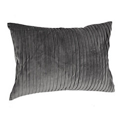 Gray Pleated Velvet Accent Pillow