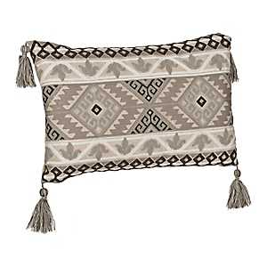 Gray Chain Stitch Aztec Accent Pillow