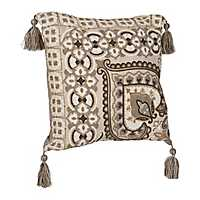 Gray Chain Stitch Medallion Pillow