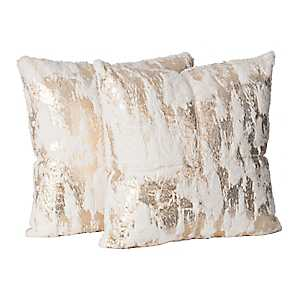White Fur Pillows with Gold Foil, Set of 2
