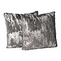Charcoal Fur Pillows with Silver Foil, Set of 2
