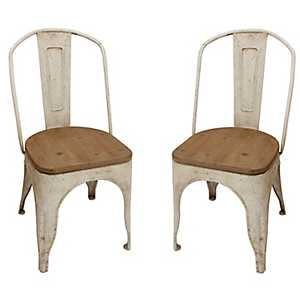 Distressed White Vintage Chairs, Set of 2