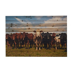 Cow Herd Wood Art Print