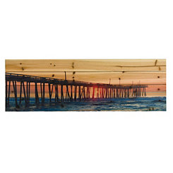 Long Pier Wood Art Print