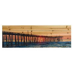 Long Pier Wood Art Print