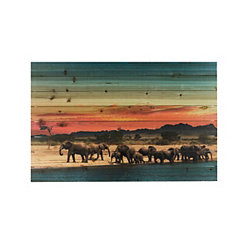 Elephant Herd Wood Art Print
