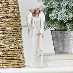 White Angel with Silver Star Figurine
