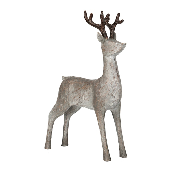 Gray Reindeer with Head Up Statue