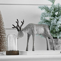 Gray Reindeer with Head Down Statue