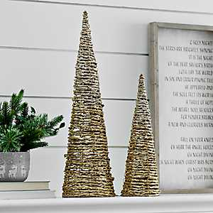 Rattan Gold Glitter Christmas Tree, Set of 2