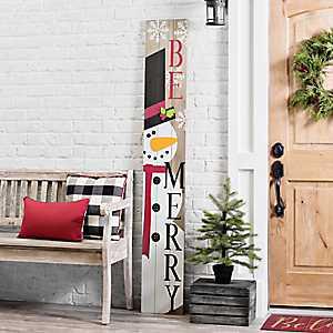 Snowman Be Merry Porch Board Plaque