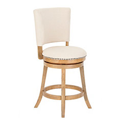 Natural Wood and Linen Swivel Counter Stool