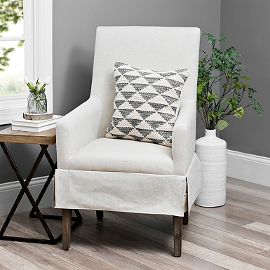 Ivory Mini Skirted Upholstered Accent Chair