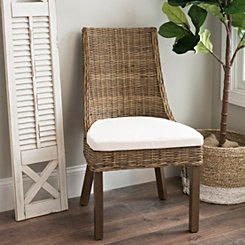 Woven Rattan Accent Chair with Cushion