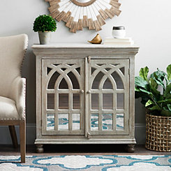 Whitewashed Mirrored Arch Cabinet