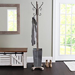 Coat Rack with Galvanized Metal Umbrella Holder