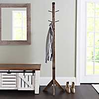 Industrial Wood and Metal Coat Rack