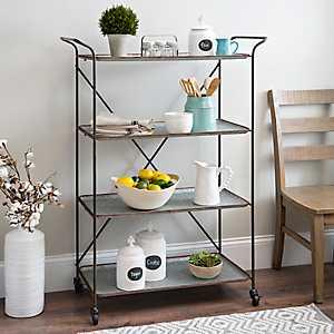 Industrial Galvanized Metal 4-Tier Shelf