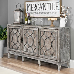 Distressed Gray Wood Circles Buffet Cabinet