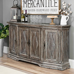 Distressed Gray Wood Diamonds Buffet Cabinet