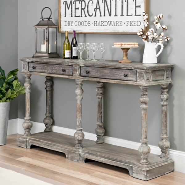 Distressed Gray Wood 2 Drawer Console Table