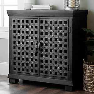 Metal Grid 2-Door Wood Cabinet