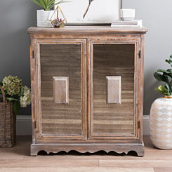 Natural Wood and Antiqued Mirror Cabinet