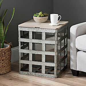 Galvanized Metal Basket Storage Table