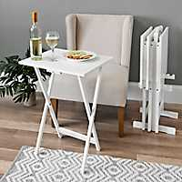 White Tray Tables with Stand, Set of 5