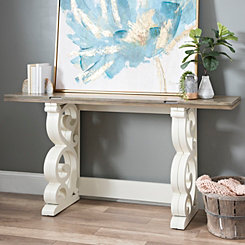 White Scroll Folding Console Table