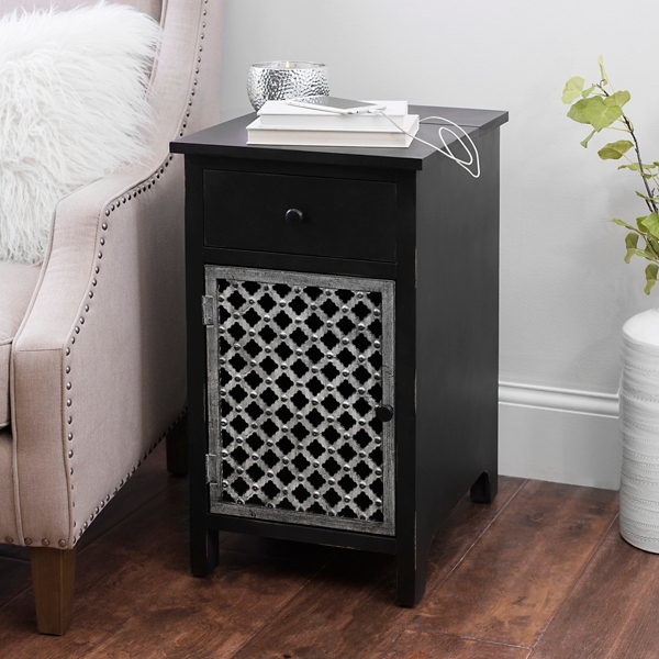 Distressed Black Side Table With Charging Station