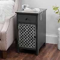 Distressed Gray Side Table with Charging Station