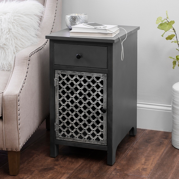 Distressed Gray Side Table With Charging Station ...