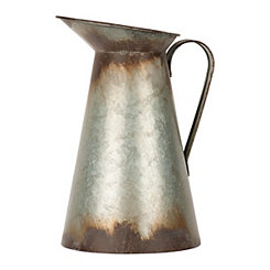Weathered Galvanized Metal Pitcher Vase