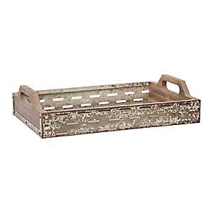Olive Cut Sides Wood and Iron Tray