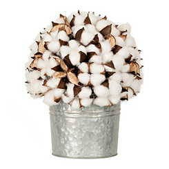 Cotton Arrangement in Galvanized Bucket, 11 in.
