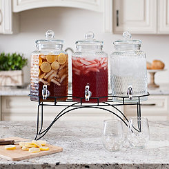 Hammered Glass Beverage Dispensers and Metal Stand