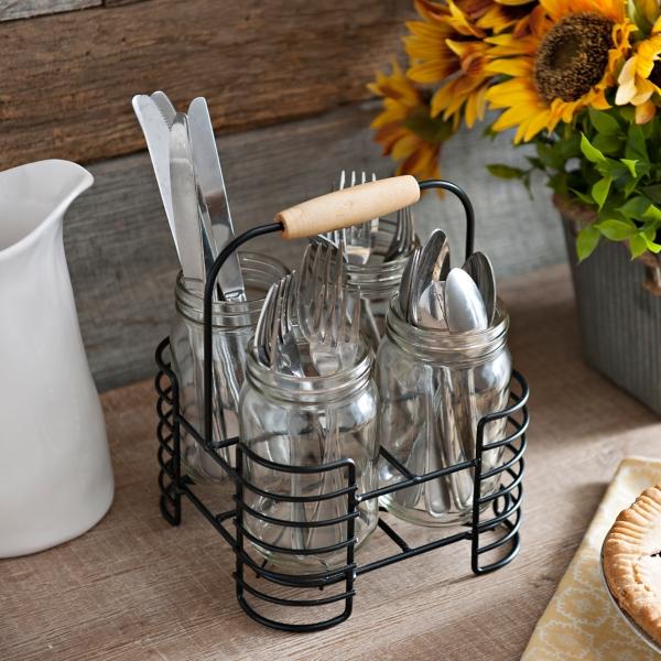 Metal Mason Jar Flatware Caddy