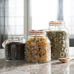 Lace Embossed Glass Canisters, Set of 3