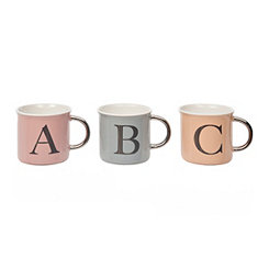 Pastel and Silver Monogram Mugs