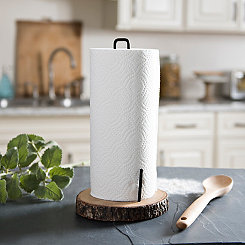 Bark Edge Wood Paper Towel Holder