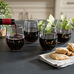 Celebration Stemless Wine Glasses, Set of 4