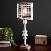 Cream Metal Edison Bulb Table Lamp with Plaid Trim