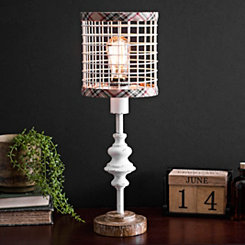 Cream Metal Edison Bulb Table Lamp with Plaid Trim