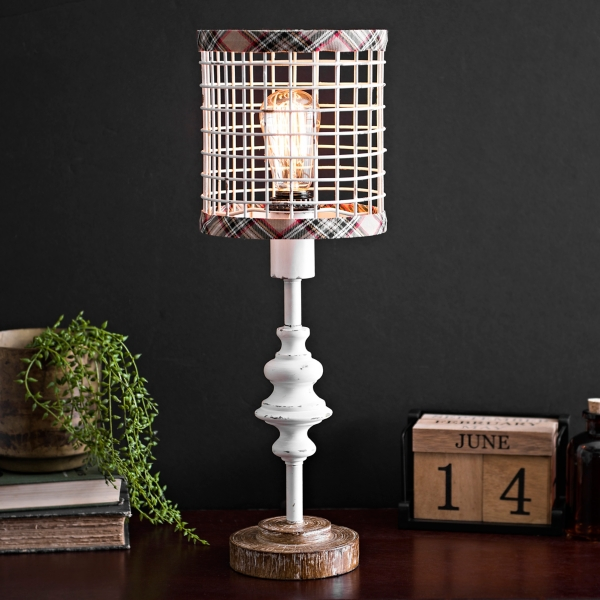 cream metal edison bulb table lamp with plaid trim - Table Lamps